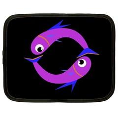Purple fishes Netbook Case (XXL)