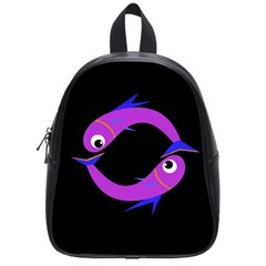 Purple fishes School Bags (Small)