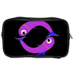 Purple fishes Toiletries Bags 2-Side