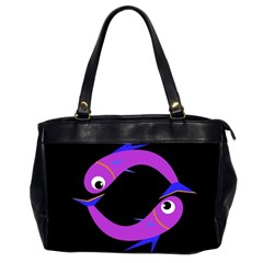 Purple fishes Office Handbags (2 Sides)