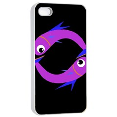 Purple fishes Apple iPhone 4/4s Seamless Case (White)