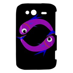 Purple fishes HTC Wildfire S A510e Hardshell Case