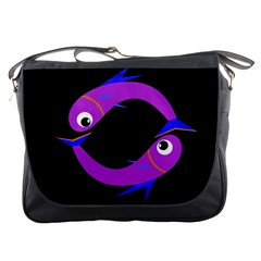 Purple fishes Messenger Bags