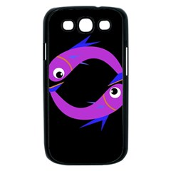 Purple fishes Samsung Galaxy S III Case (Black)