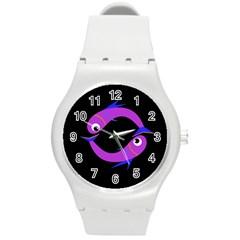 Purple fishes Round Plastic Sport Watch (M)