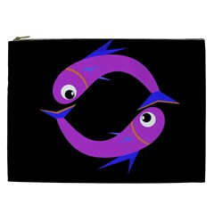 Purple fishes Cosmetic Bag (XXL)