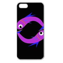 Purple fishes Apple Seamless iPhone 5 Case (Clear)