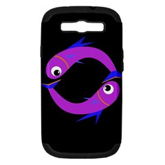 Purple fishes Samsung Galaxy S III Hardshell Case (PC+Silicone)