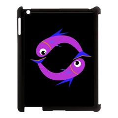 Purple fishes Apple iPad 3/4 Case (Black)