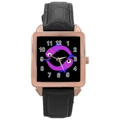Purple fishes Rose Gold Leather Watch