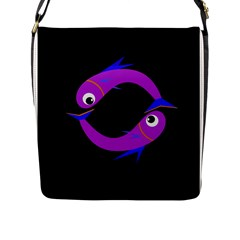 Purple fishes Flap Messenger Bag (L)