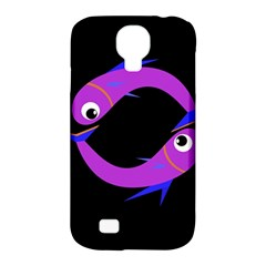 Purple fishes Samsung Galaxy S4 Classic Hardshell Case (PC+Silicone)