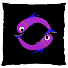 Purple fishes Standard Flano Cushion Case (One Side)