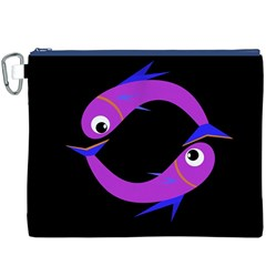 Purple fishes Canvas Cosmetic Bag (XXXL)