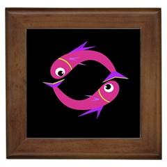 Magenta fishes Framed Tiles