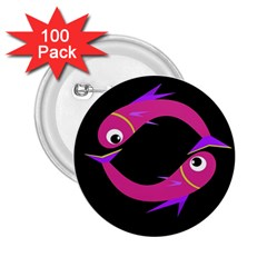 Magenta fishes 2.25  Buttons (100 pack)