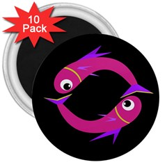 Magenta fishes 3  Magnets (10 pack)