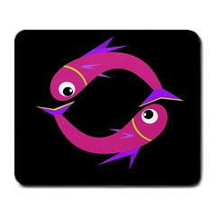 Magenta fishes Large Mousepads