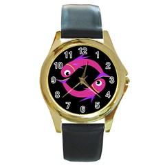 Magenta fishes Round Gold Metal Watch