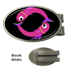 Magenta fishes Money Clips (Oval)