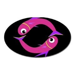 Magenta fishes Oval Magnet