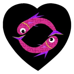 Magenta fishes Jigsaw Puzzle (Heart)