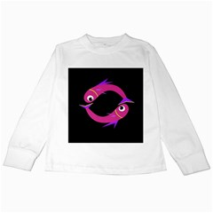 Magenta fishes Kids Long Sleeve T-Shirts