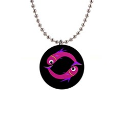 Magenta fishes Button Necklaces