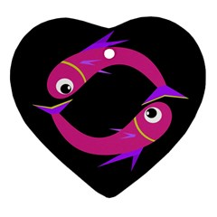Magenta fishes Heart Ornament (2 Sides)