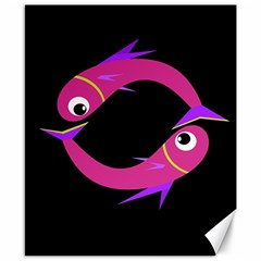 Magenta fishes Canvas 8  x 10