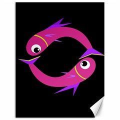 Magenta fishes Canvas 12  x 16