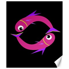 Magenta fishes Canvas 20  x 24