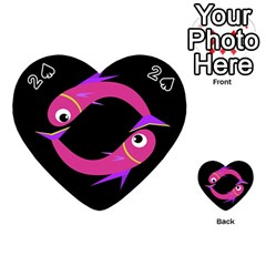 Magenta fishes Playing Cards 54 (Heart)