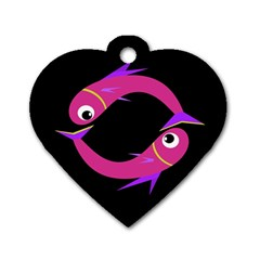 Magenta fishes Dog Tag Heart (One Side)