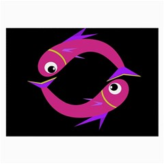 Magenta fishes Large Glasses Cloth
