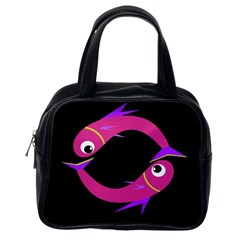 Magenta fishes Classic Handbags (One Side)