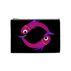 Magenta fishes Cosmetic Bag (Medium)