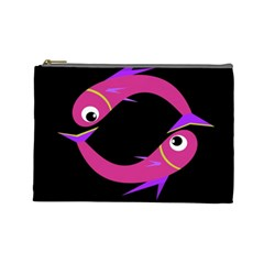 Magenta fishes Cosmetic Bag (Large)