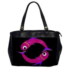 Magenta fishes Office Handbags