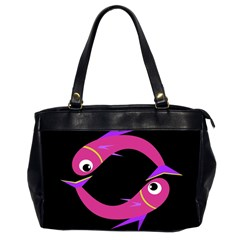Magenta fishes Office Handbags (2 Sides)