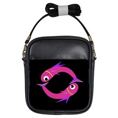 Magenta fishes Girls Sling Bags