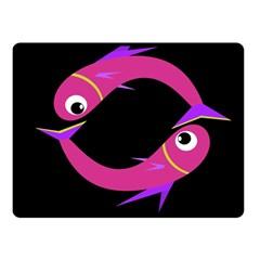 Magenta fishes Fleece Blanket (Small)