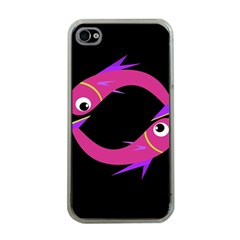 Magenta fishes Apple iPhone 4 Case (Clear)