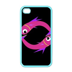 Magenta fishes Apple iPhone 4 Case (Color)