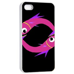 Magenta fishes Apple iPhone 4/4s Seamless Case (White)