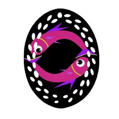 Magenta fishes Oval Filigree Ornament (2-Side)