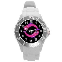 Magenta fishes Round Plastic Sport Watch (L)