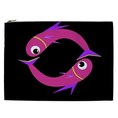 Magenta fishes Cosmetic Bag (XXL)