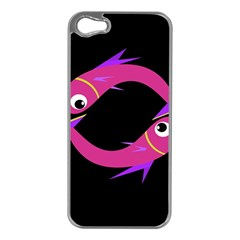 Magenta fishes Apple iPhone 5 Case (Silver)