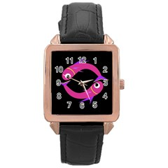 Magenta fishes Rose Gold Leather Watch